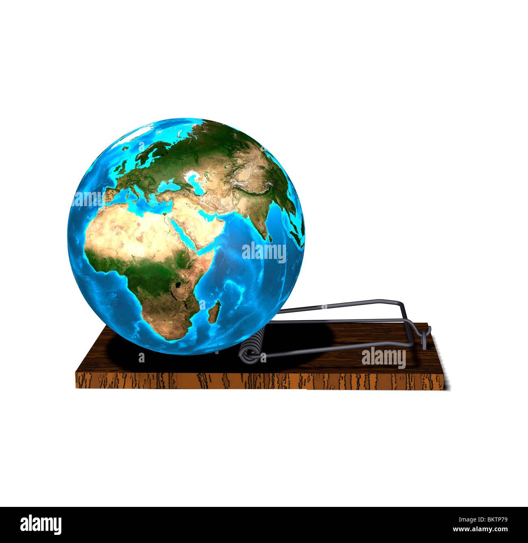 globe in the trap Stock Photo
