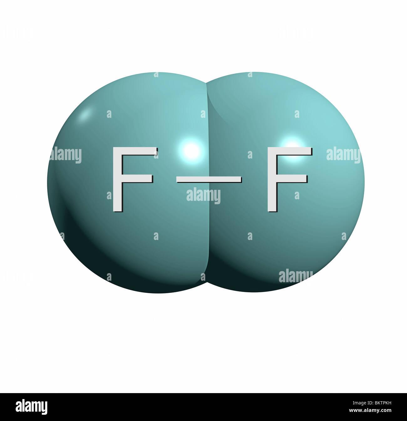 Fluormolekül F2 / fluorine molecule F2 Stock Photo