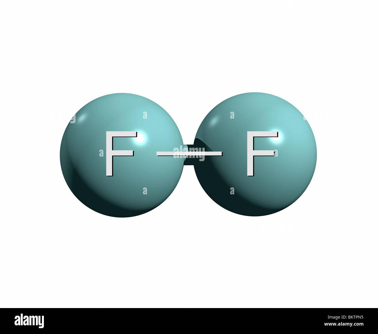 fluormolek�l f2 / fluorine molecule f2 - stock image
