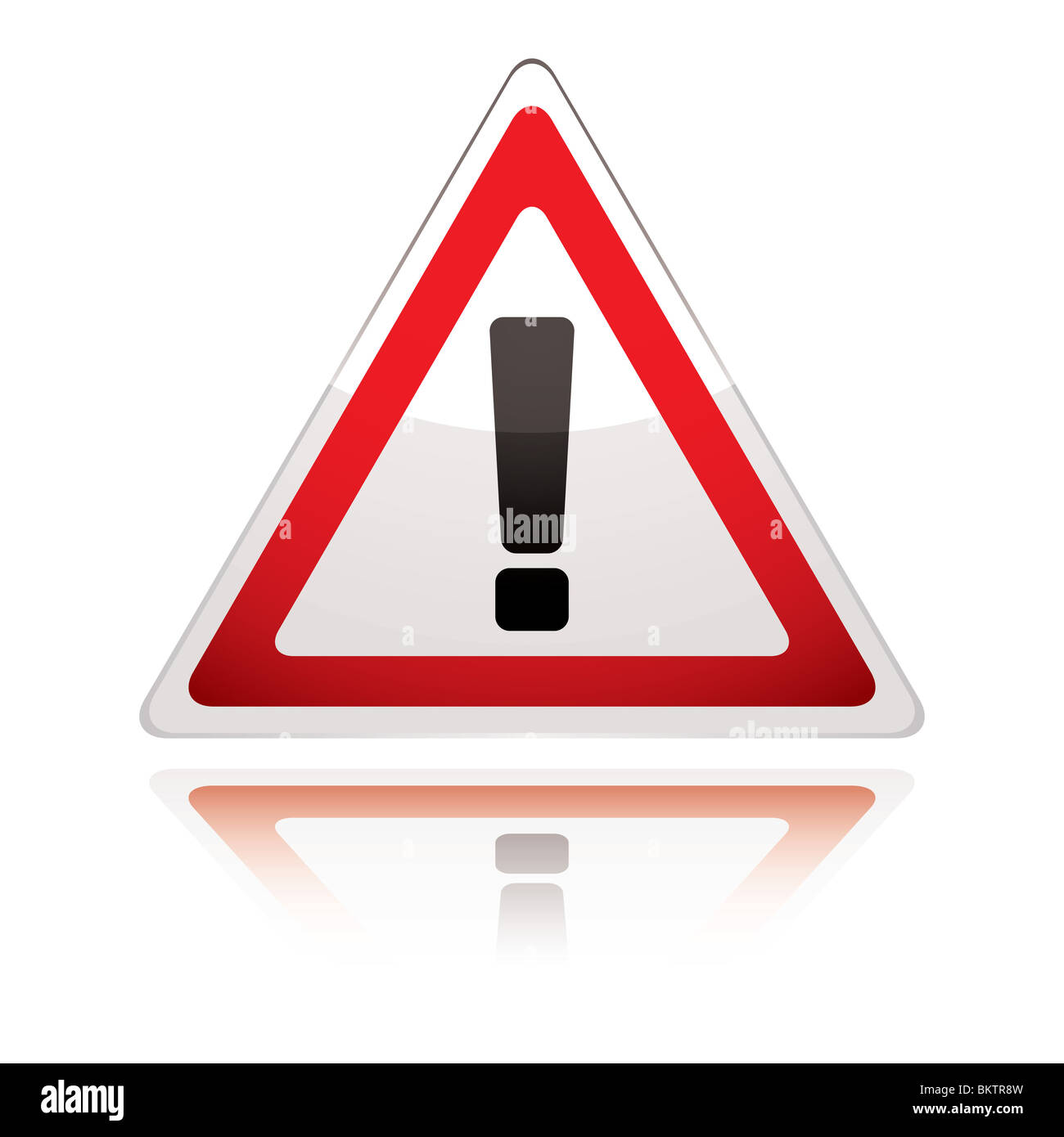 UK warning sign icon with exclamation with reflection - Stock Image