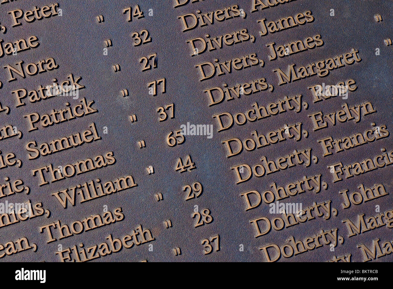 Close up of detail on the  memorial to victims of the Clydebank blitz. - Stock Image