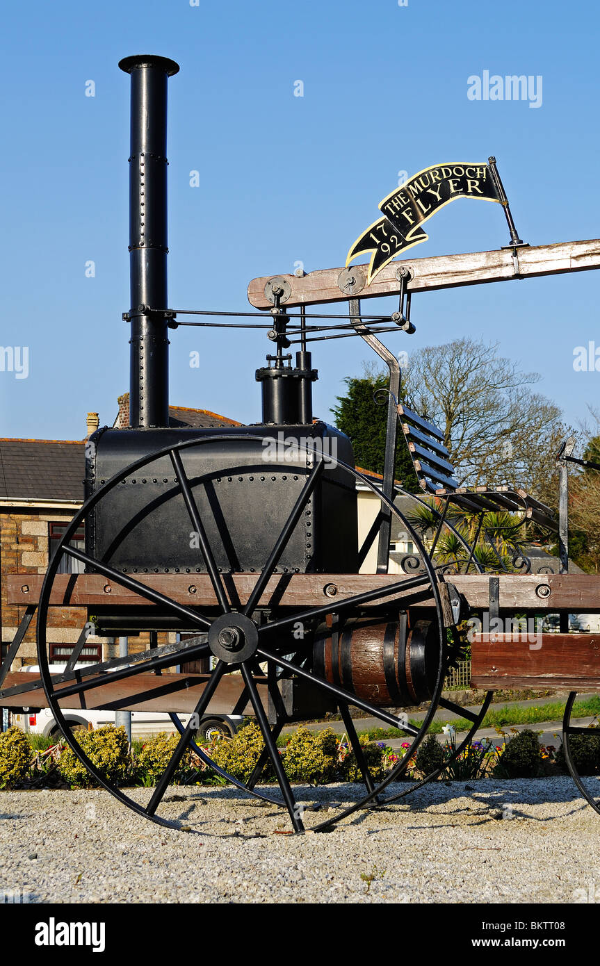 a replica of the ' murdoch flyer ' the first steam engine to be built in britain, invented by william murdoch - Stock Image