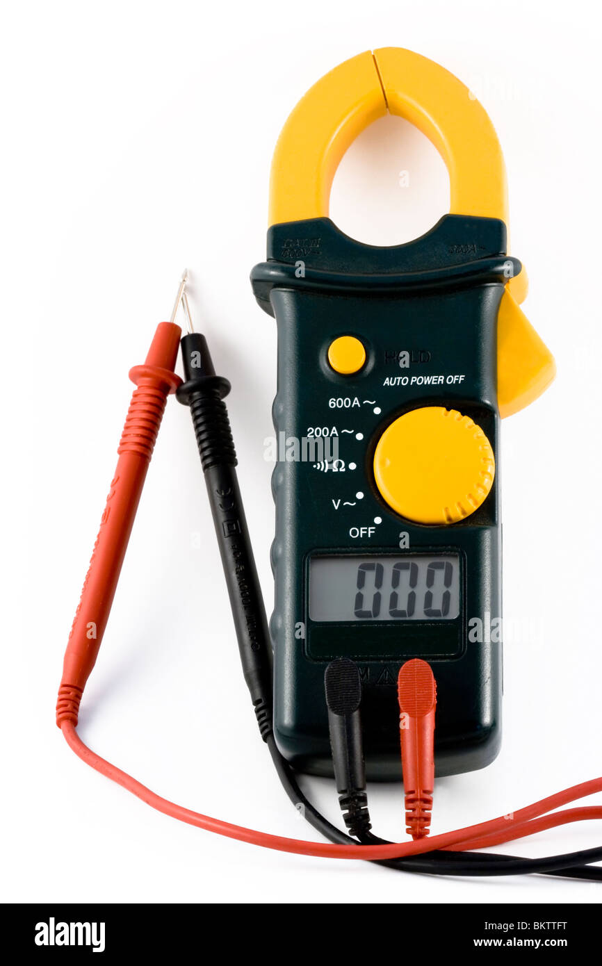 Close-up image of an electrical meter set to meter ohm's Stock Photo