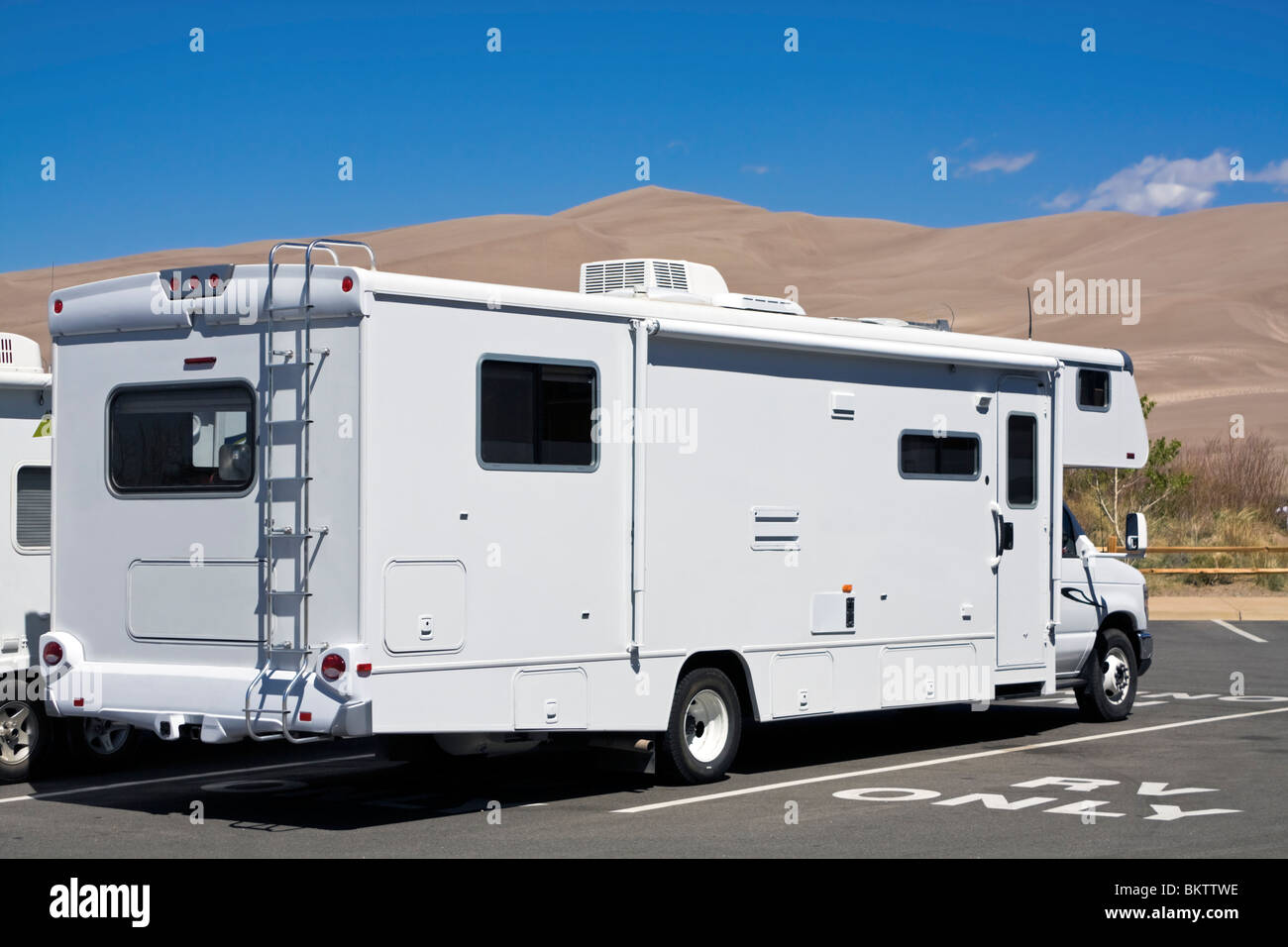 Luxury RV in Great Sand Dunes National Park Stock Photo