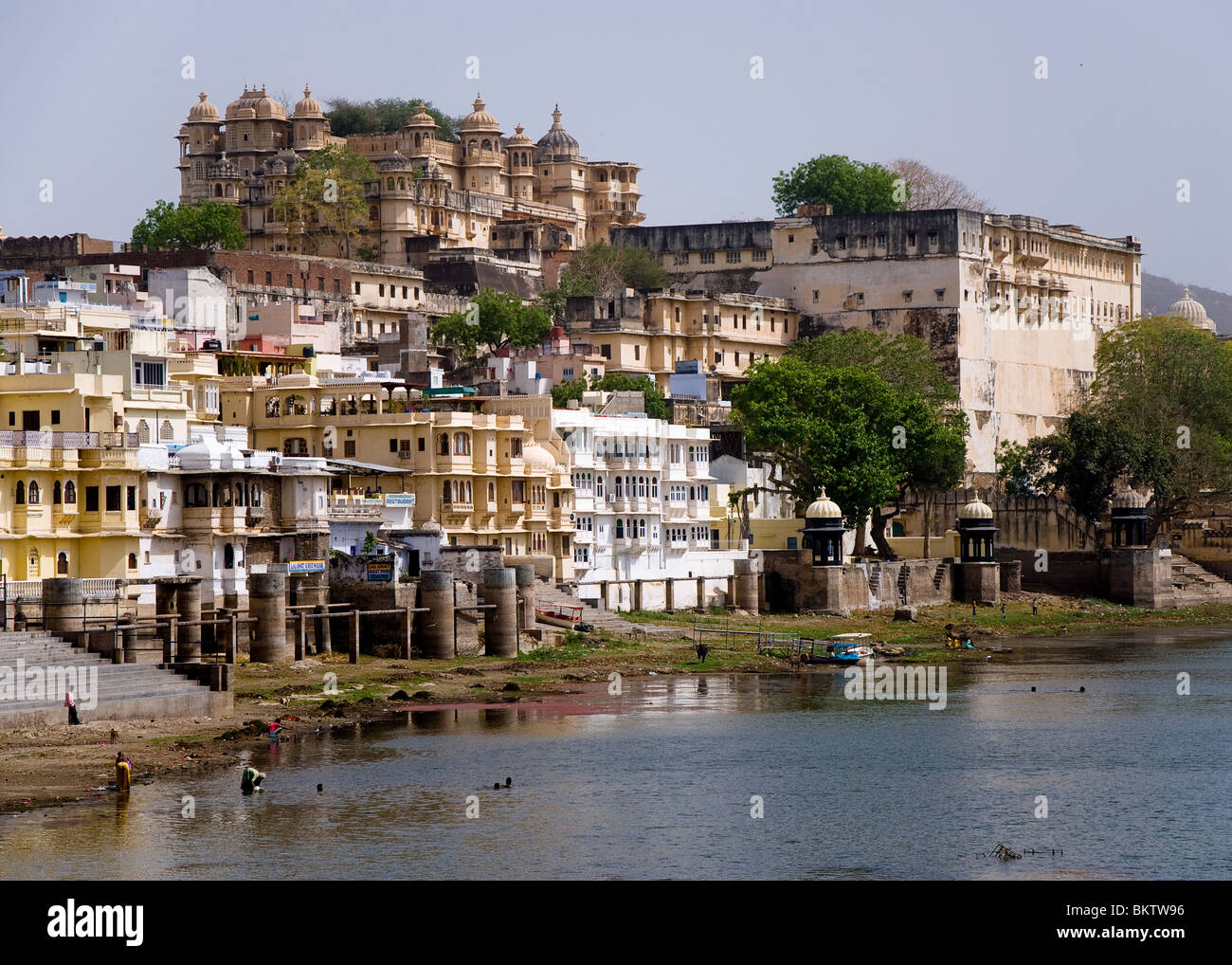 City Palace and Ghats, Udaipur, Rajasthan, India - Stock Image