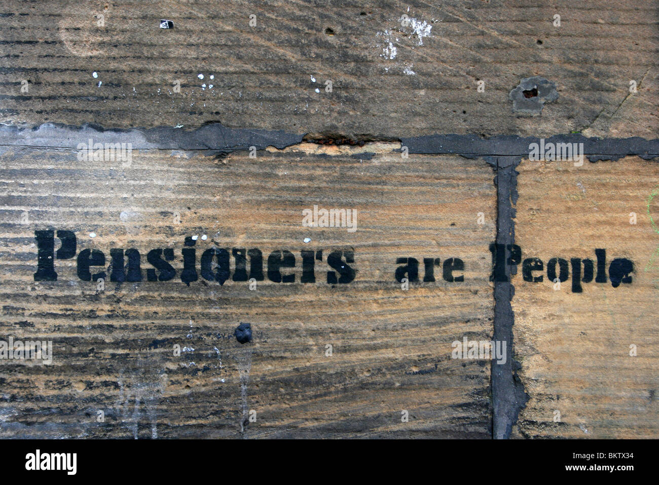 'Pensioners Are People' Stencil Graffiti In Liverpool, UK - Stock Image