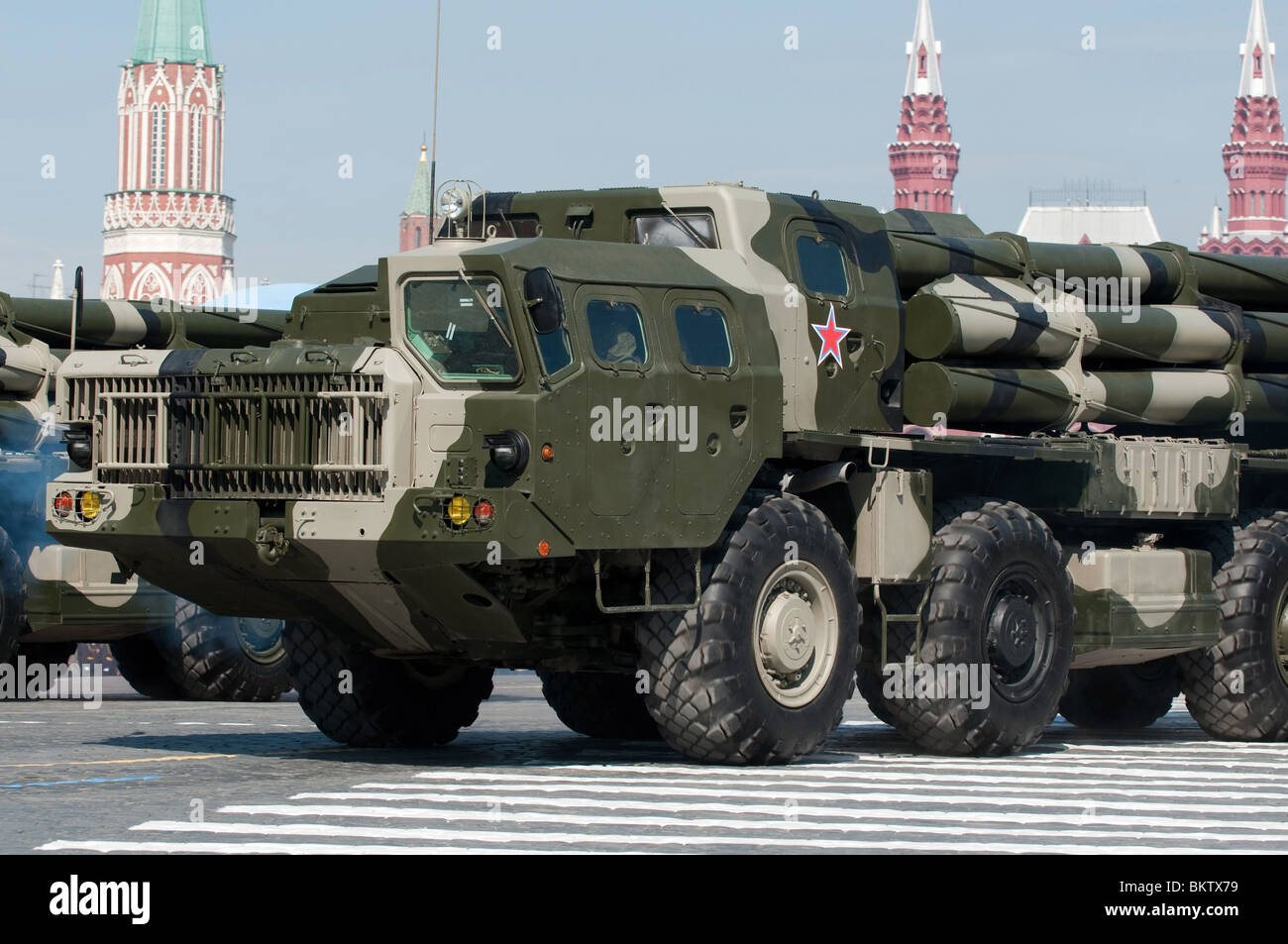 Russian multiple rocket launcher BM 30 Smerch (Tornado) march along the Red Square Moscow Victory Parade of 2010 - Stock Image
