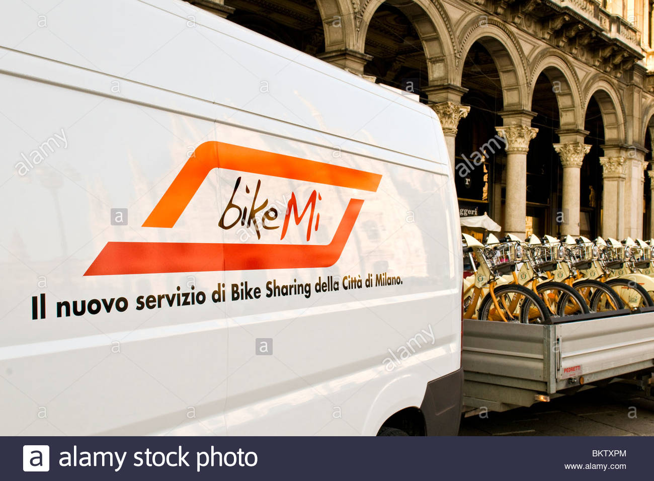 bicycles,bikesharing,Milan,Lombardy,Italy - Stock Image