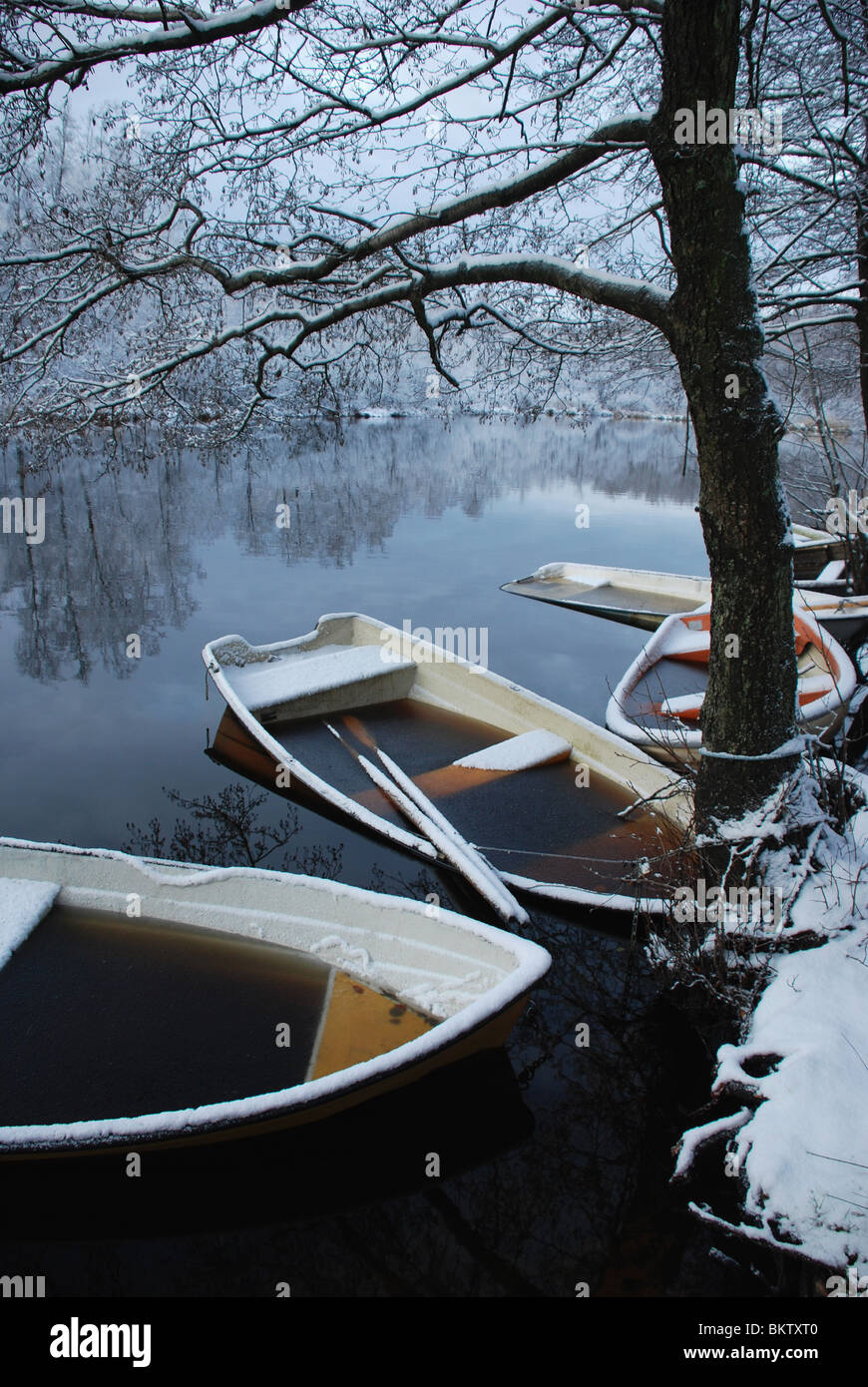 Boats in winter time - Stock Image