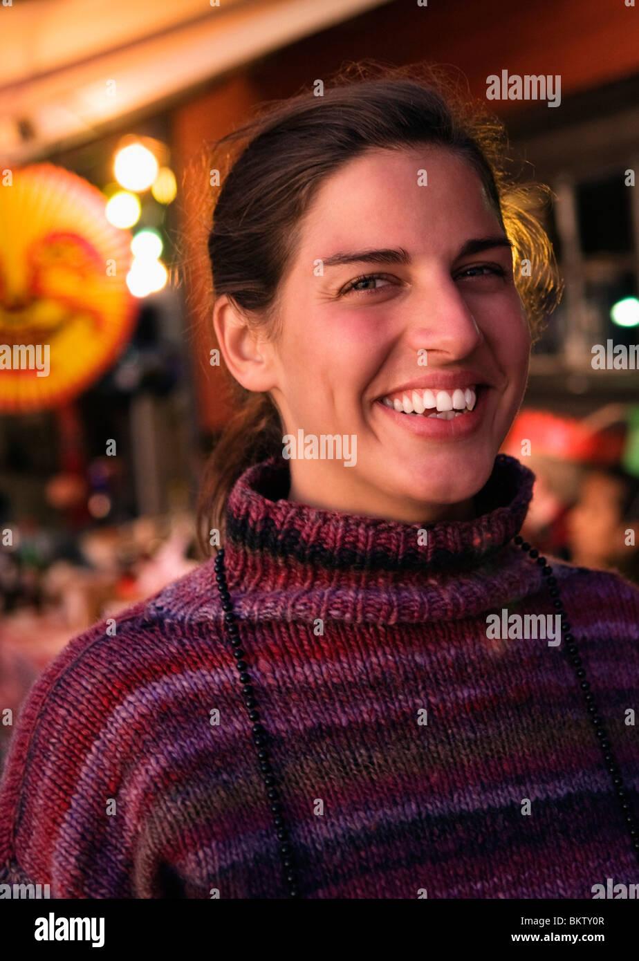 Woman at crayfish party - Stock Image