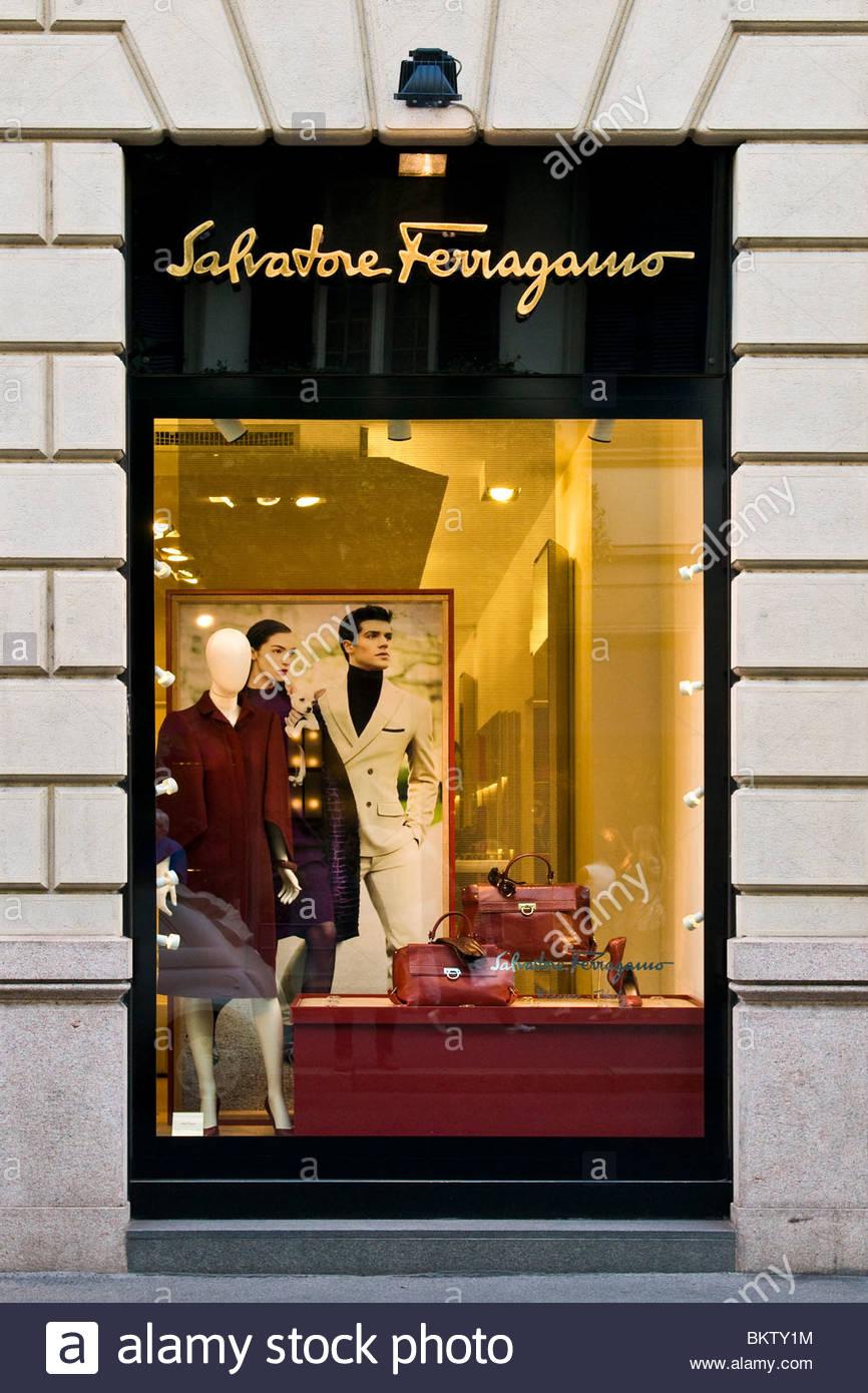 Salvatore Ferragamo,Via Monte Napoleone,Milan,Lombardy,Italy - Stock Image