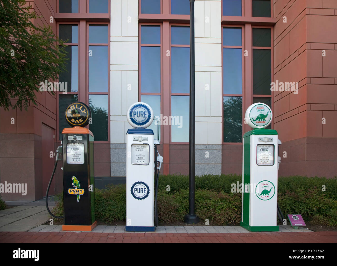 Washington, DC - Old-style gasoline pumps outside the offices of the U.S. Department of Transportation. - Stock Image