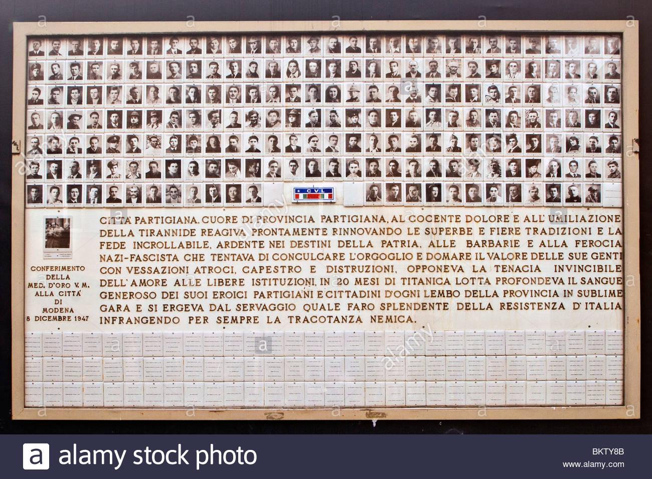memorial to war dead,corpo volontari della libertà,modena,emilia romagna,italy - Stock Image