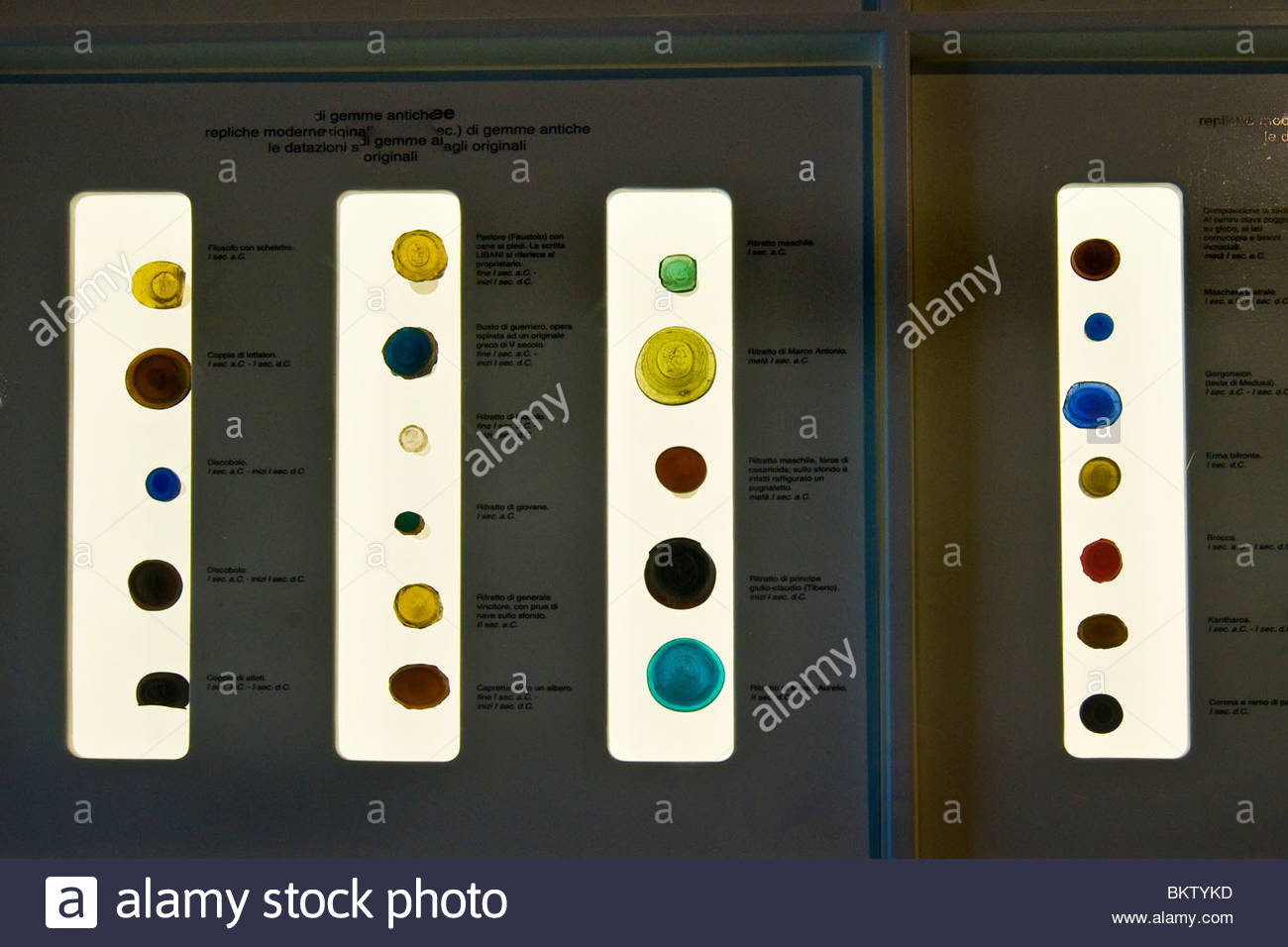 modern replicas of antique gems,Civic Museum,Como,Lombardy,Italy - Stock Image