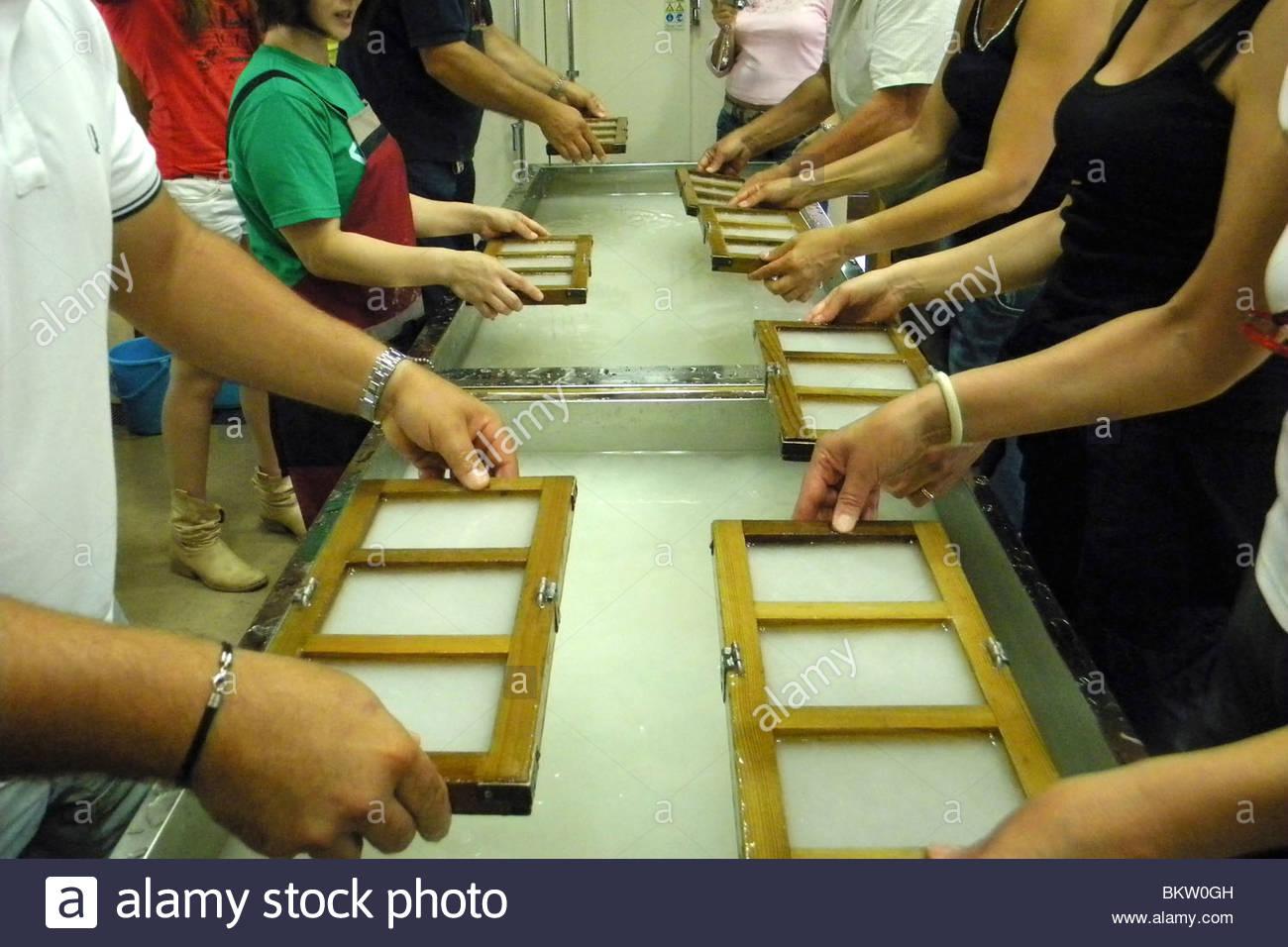 rice paper making,Shirakawa,Japan - Stock Image