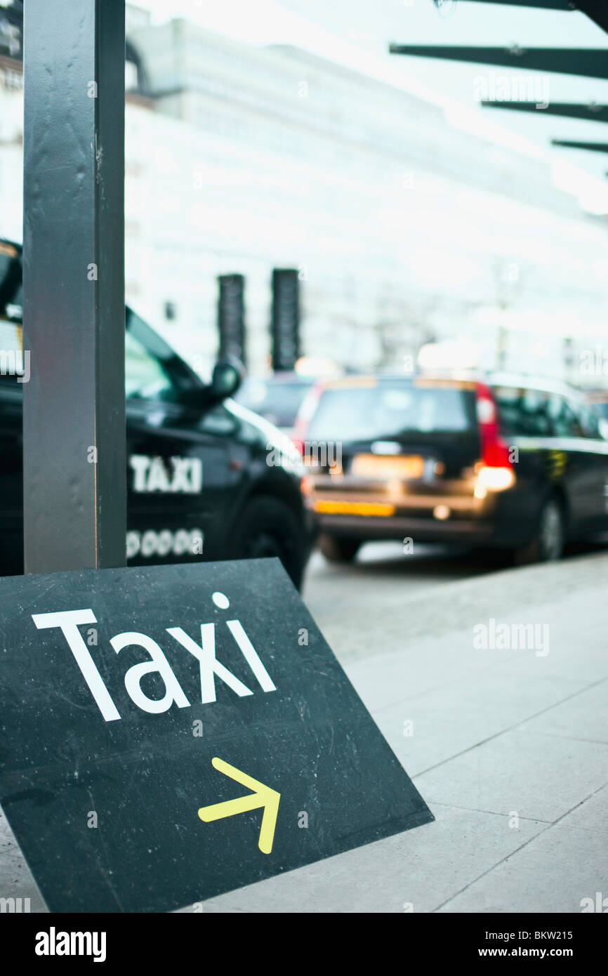 Black taxi sign - Stock Image