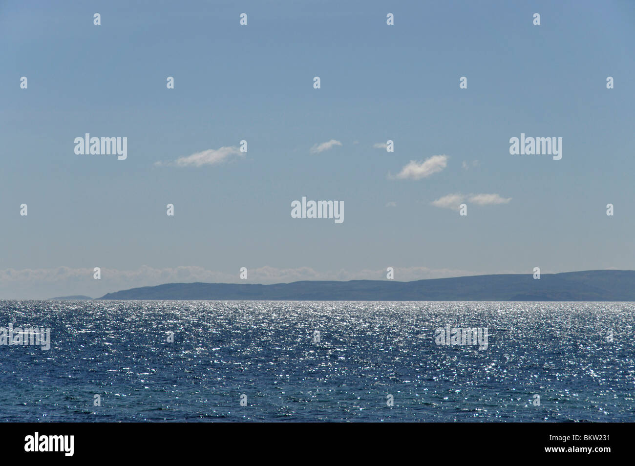 Mull of Kintyre from Dougarie, Arran, Scotland Stock Photo
