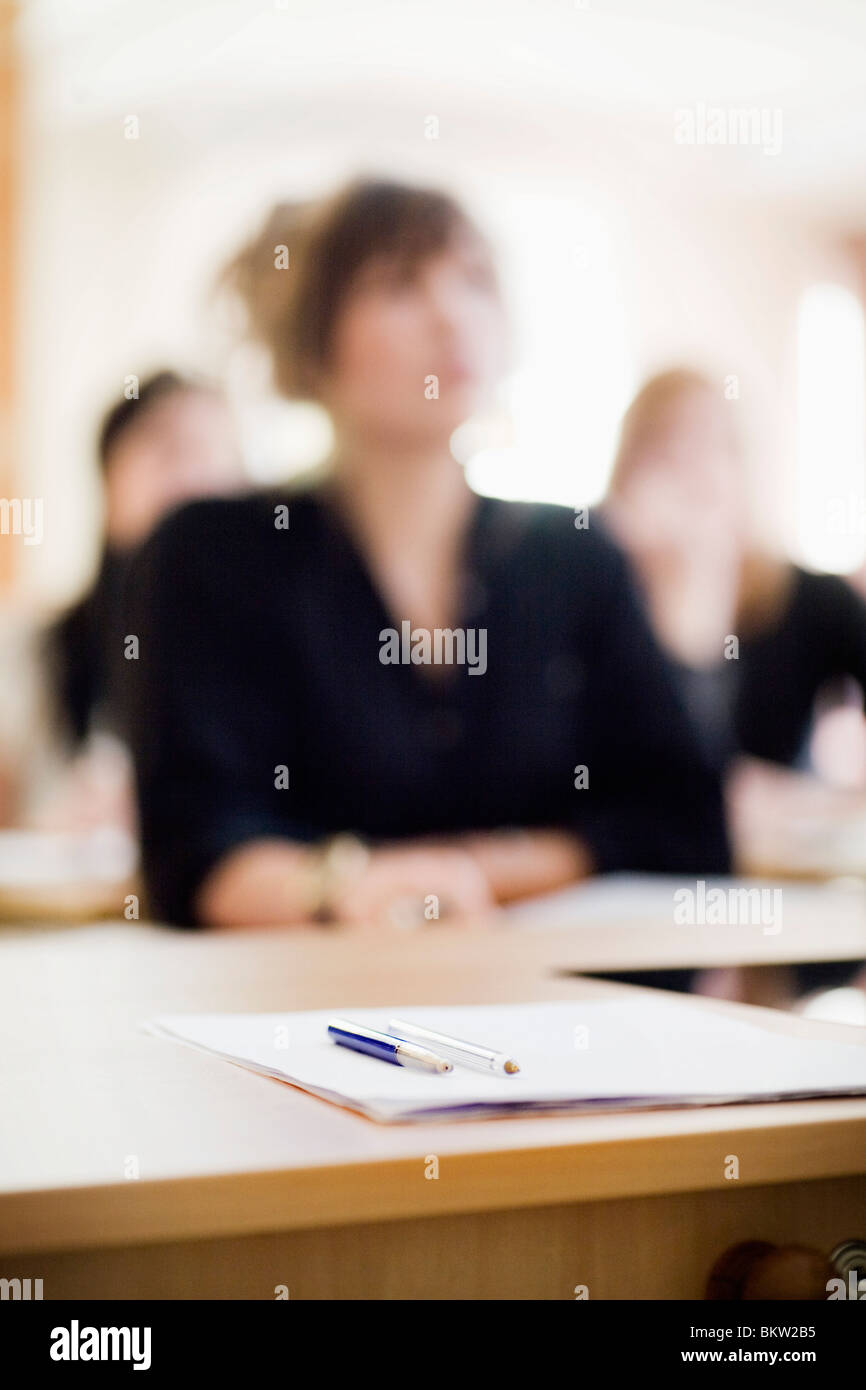 Three blurry students - Stock Image