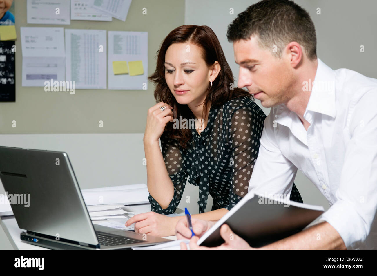 Colleagues with lap top - Stock Image