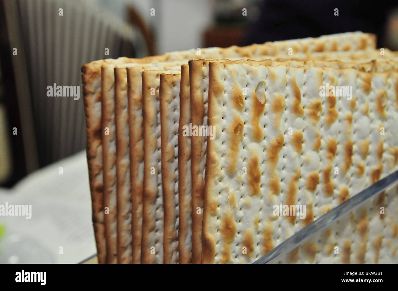 Traditional passover dinner, close up of Matzah - Stock Image