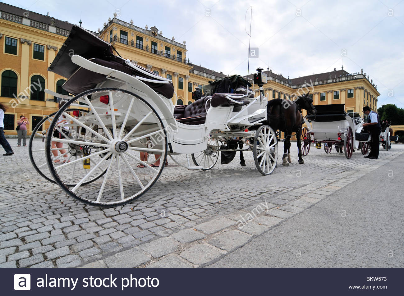 carriages with horses,schonbrunn palace,wien,austria Stock Photo