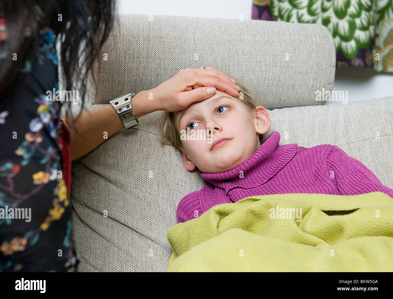Taking care of sick child - Stock Image