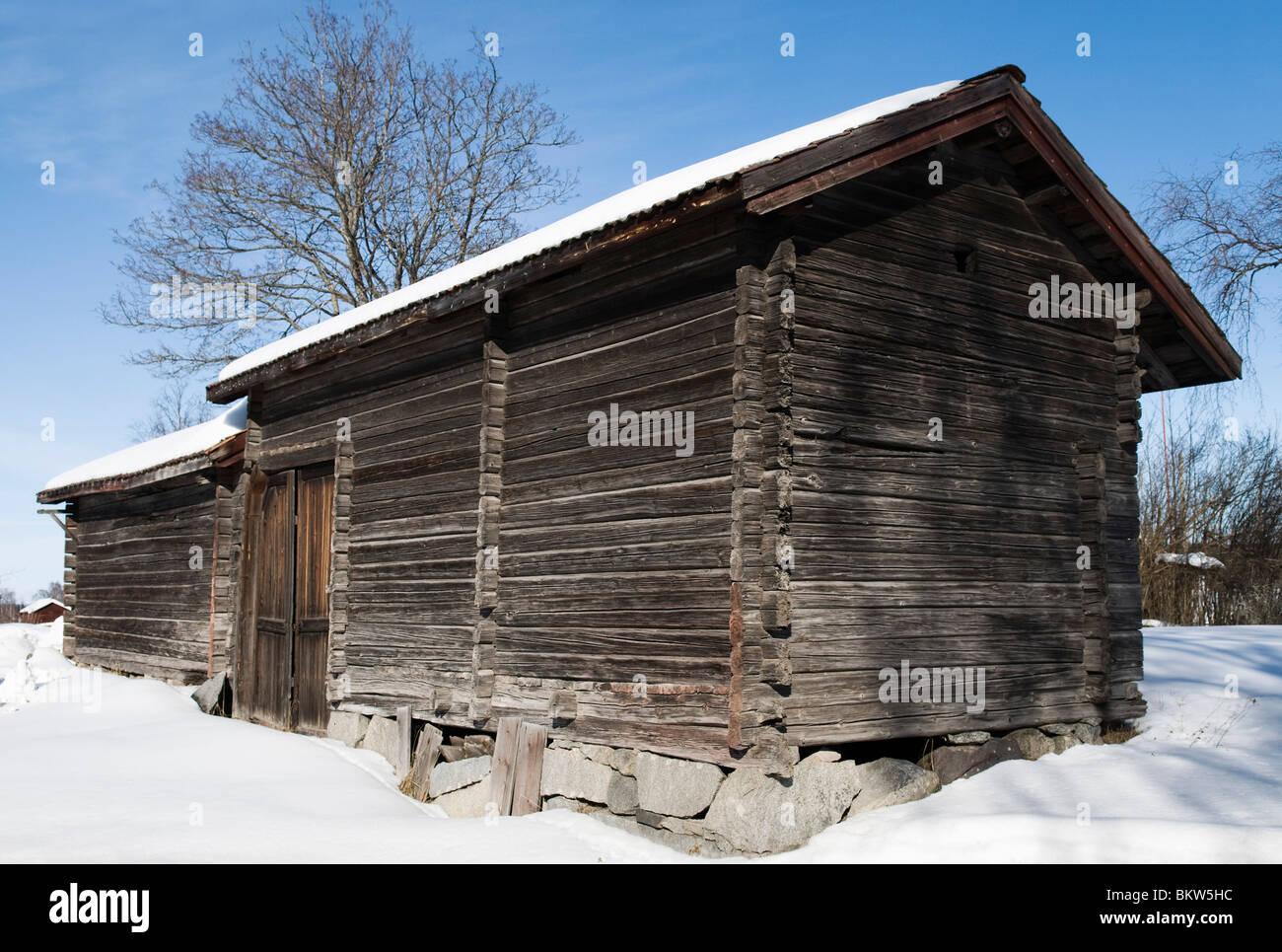 Winter cottage in Dalarna - Stock Image