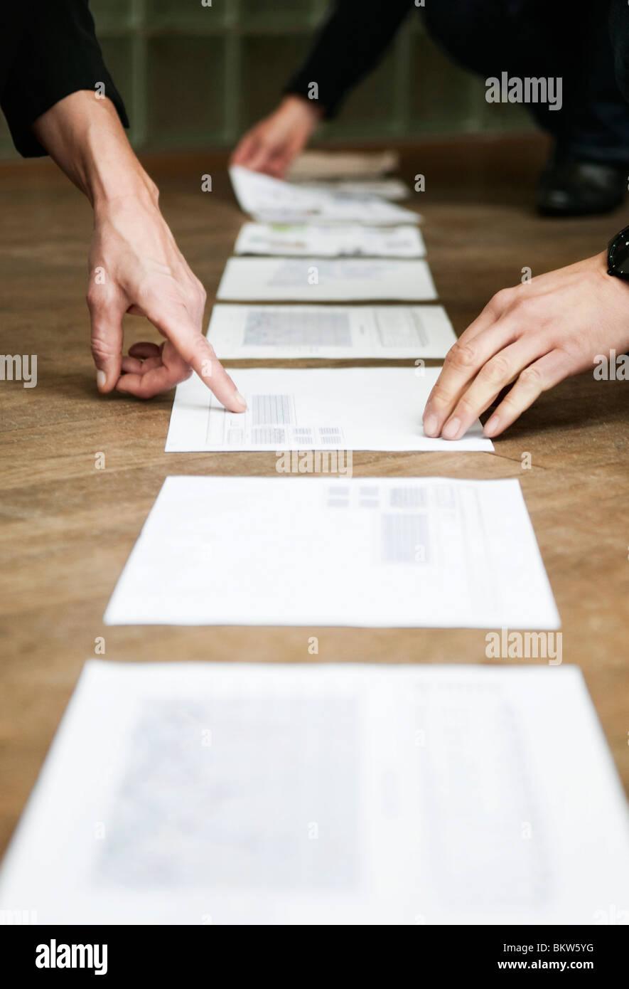 Documents on floor - Stock Image