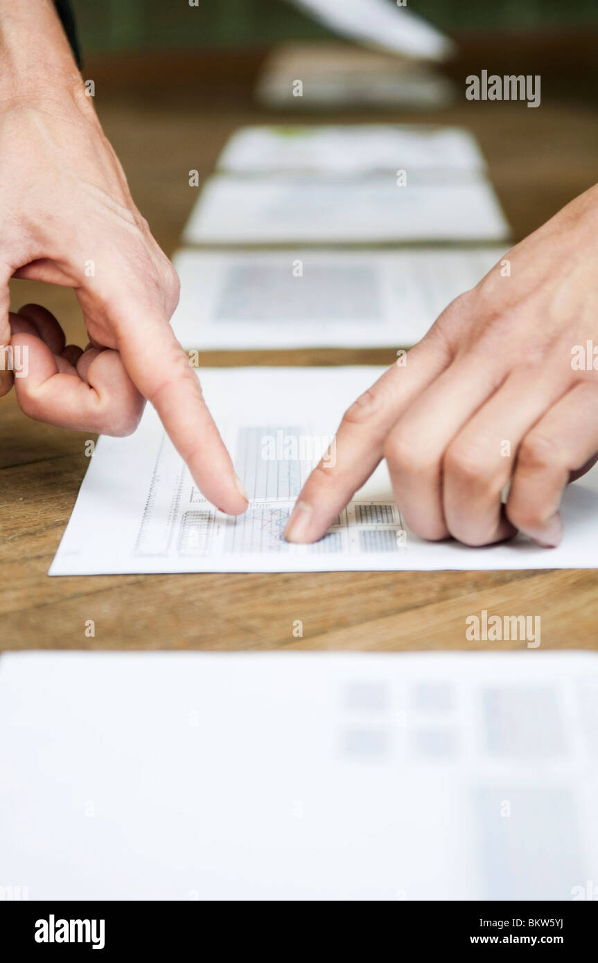Showing in document - Stock Image