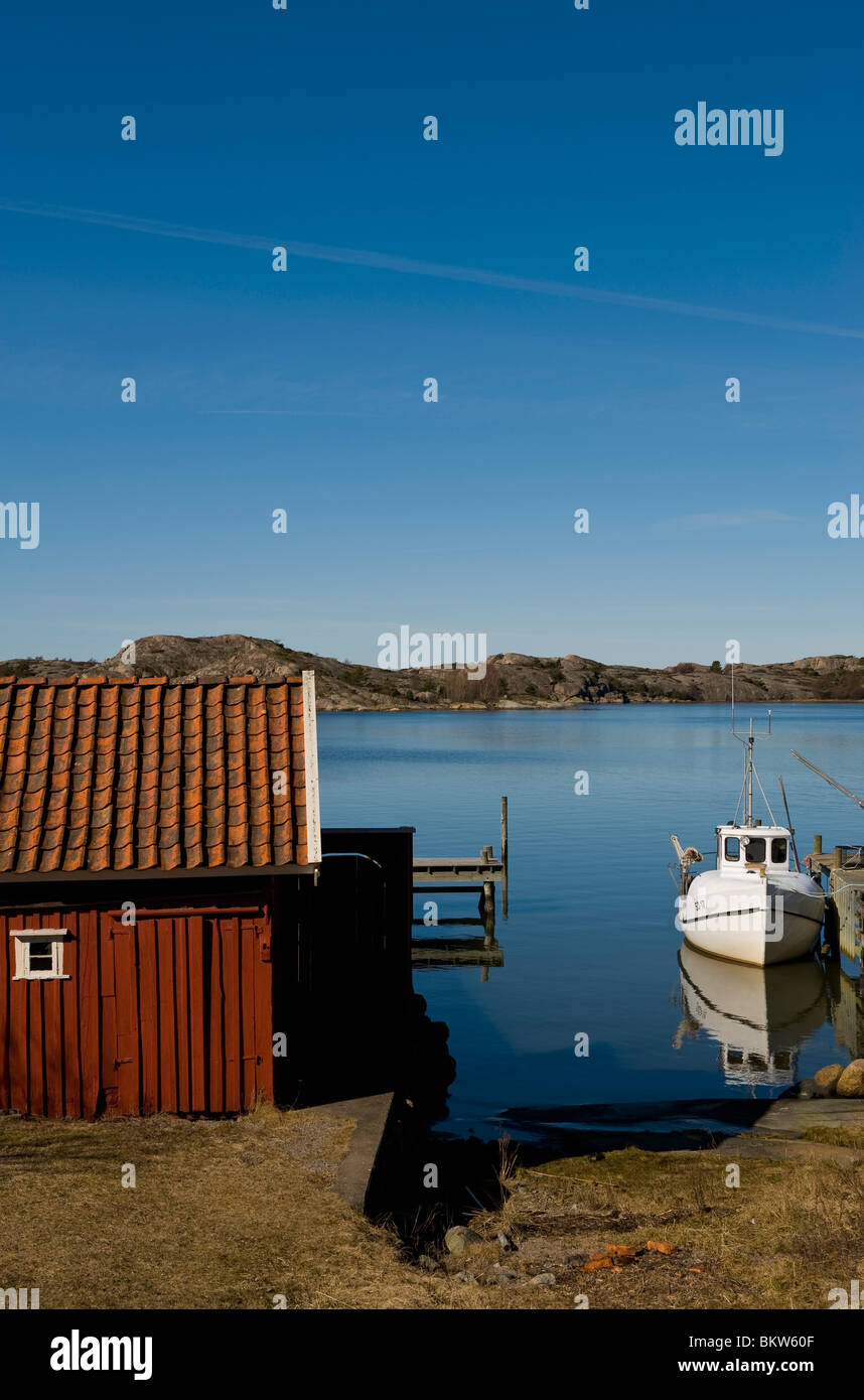 Boathouse with boats - Stock Image