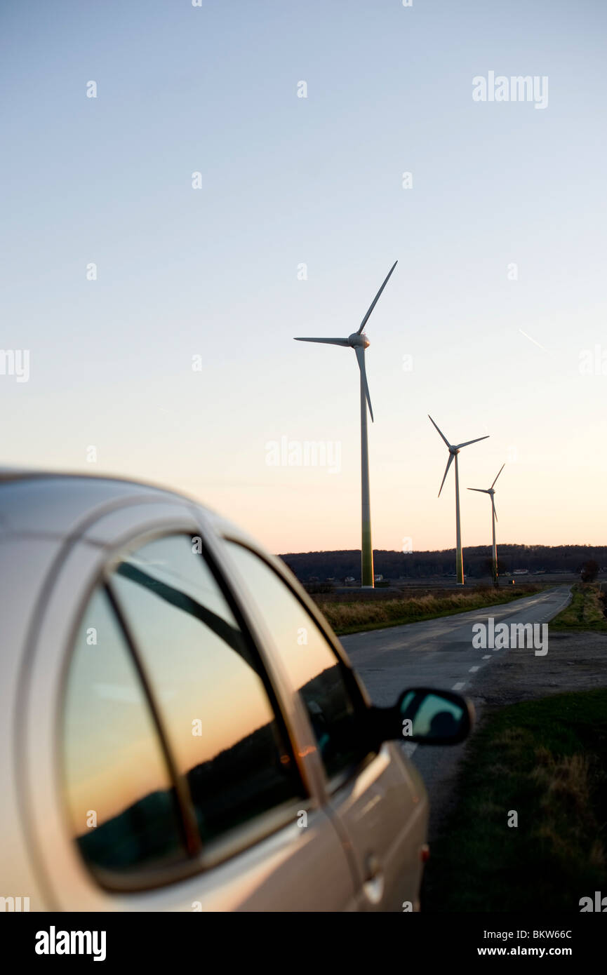 View over wind power stations - Stock Image