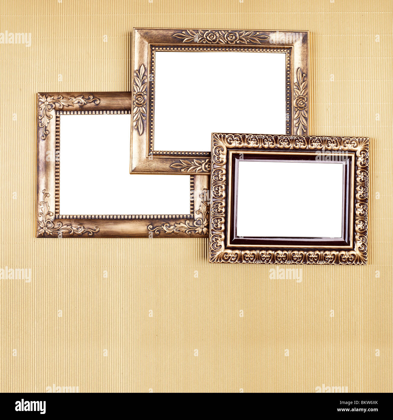 Three Old Picture Frame On Gold Pattern, Design Element - Stock Image