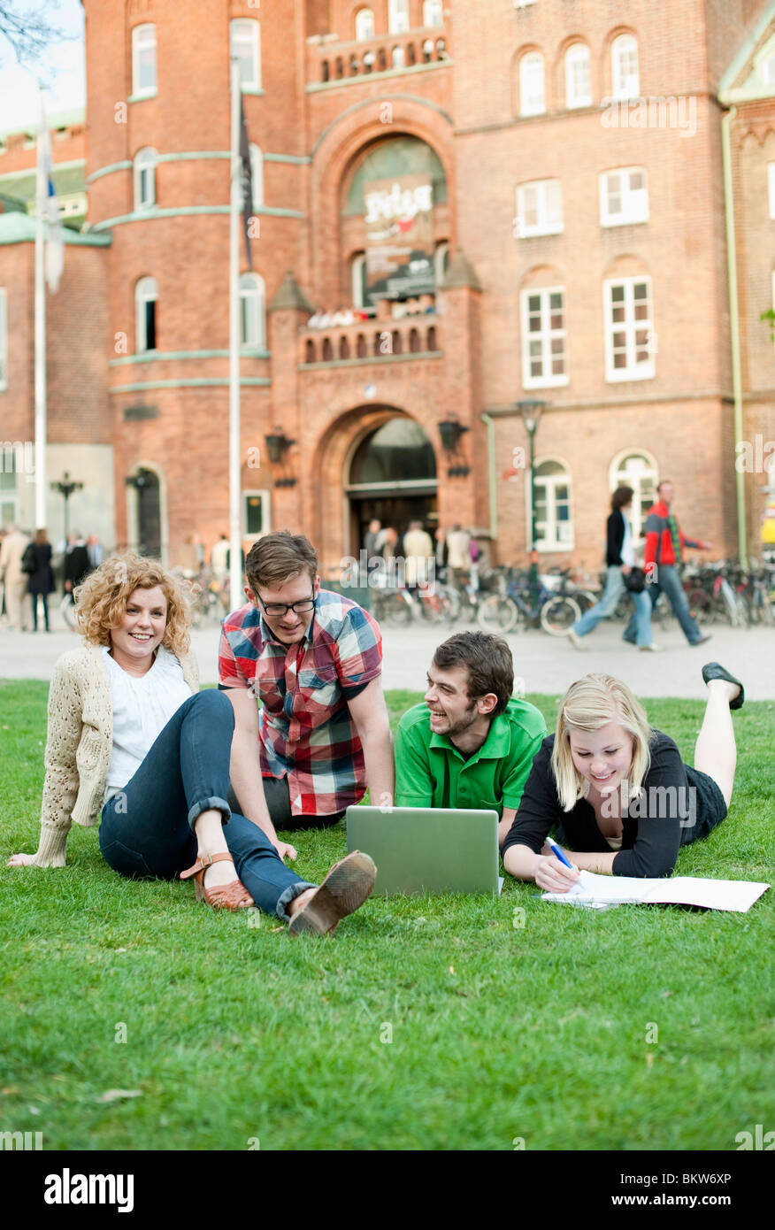 Group of students on lawn - Stock Image