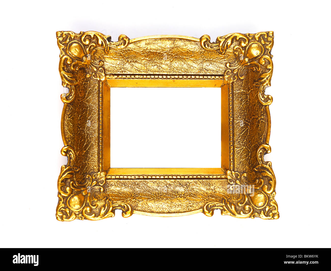 old gold picture frame isolated on white background. Black Bedroom Furniture Sets. Home Design Ideas