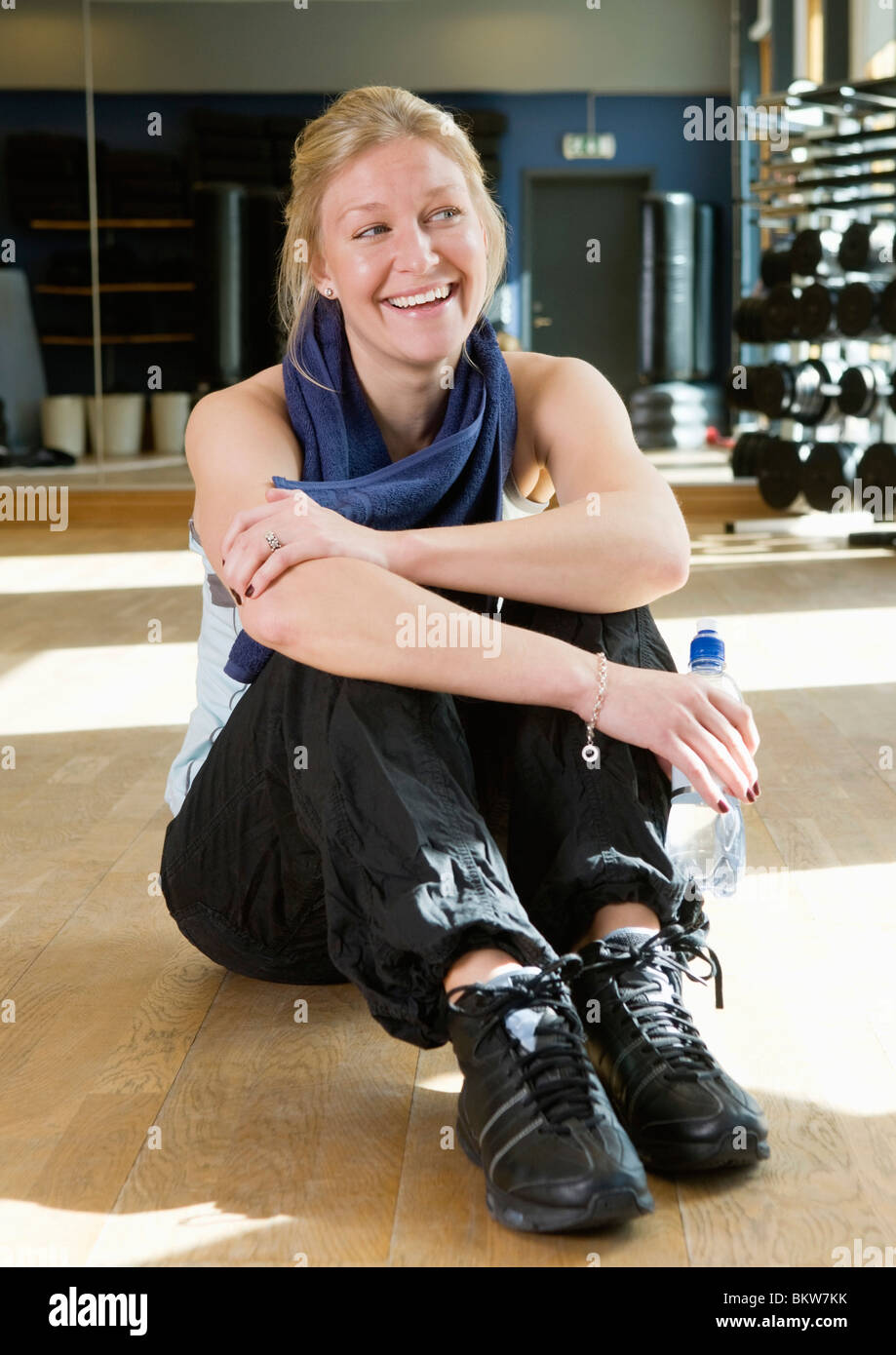 Happy girl after working out - Stock Image
