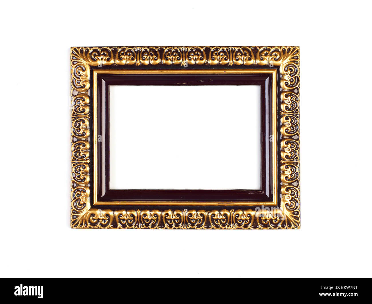 Old Picture Frame Isolated On White Background, Design Element - Stock Image