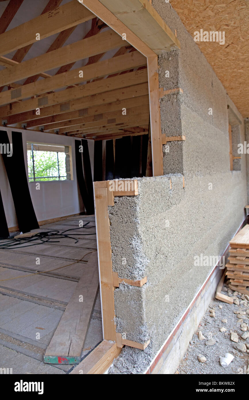 Building under construction using hemcrete wall for high insulation value UK Stock Photo