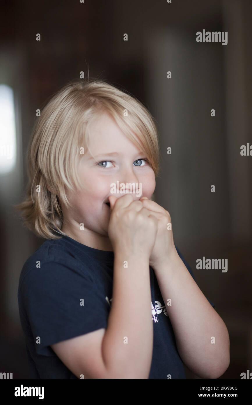 Boy with secrets - Stock Image