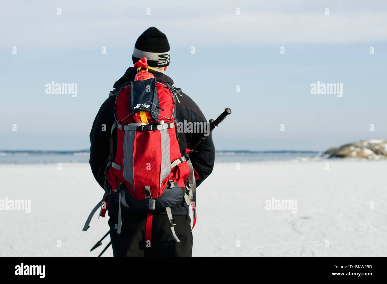 Man out on the ice - Stock Image