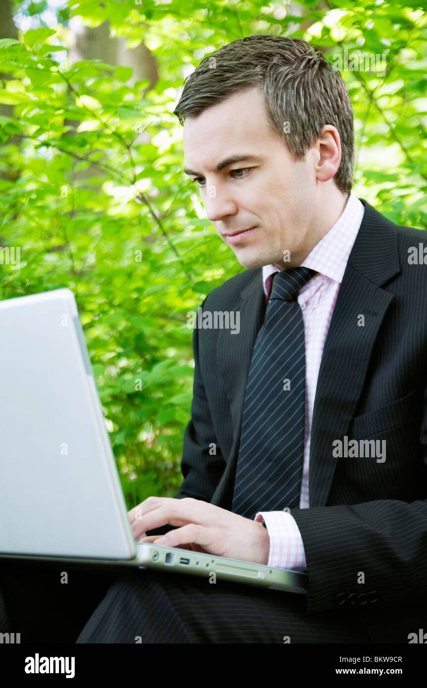 Concentrated man - Stock Image