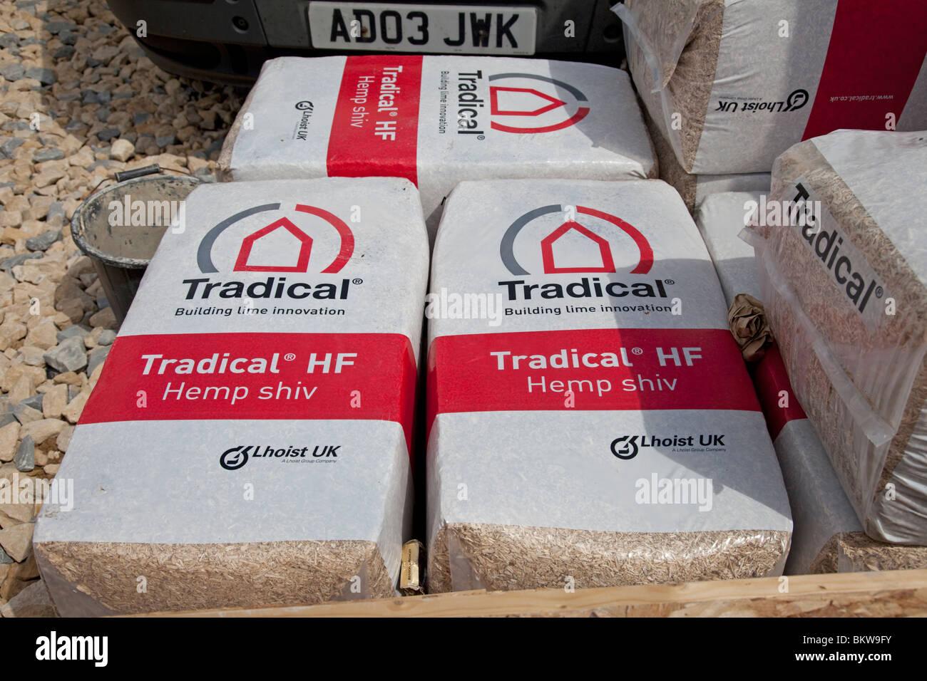 Bales of Tradical Hemp shiv for environmentally friendly building construction UK Stock Photo