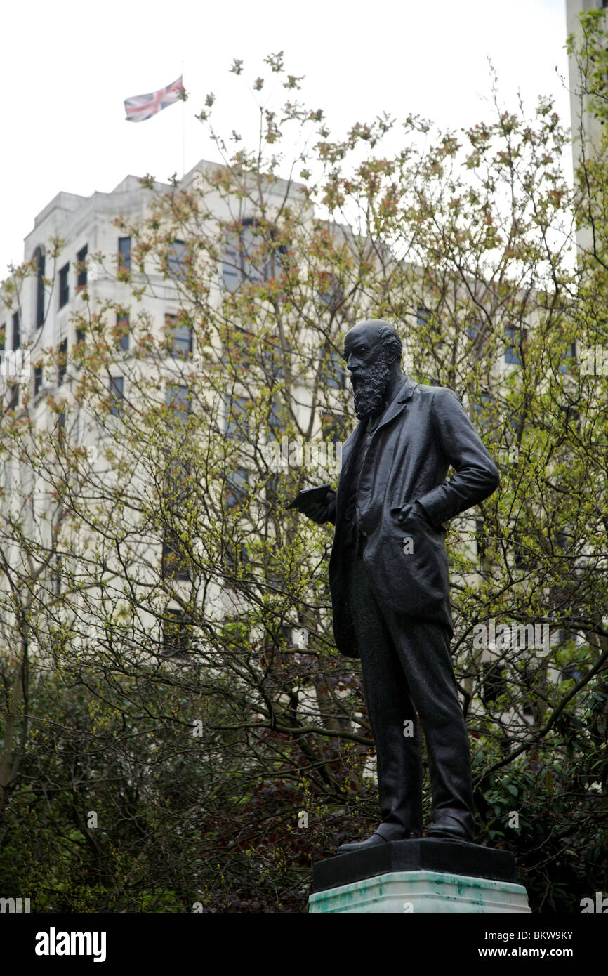 Statue to Sir Wilfred Lawson Liberal MP and temperance advocate nicknamed Dry Wilf in Embankment Gardens London - Stock Image