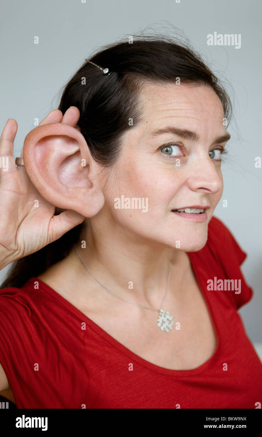 Woman with big ear - Stock Image