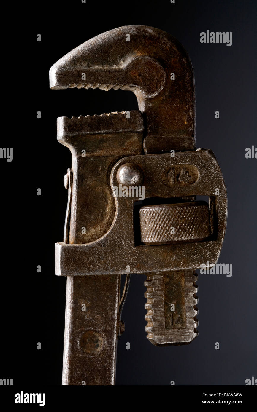 old used monkey wrench spanner - Stock Image