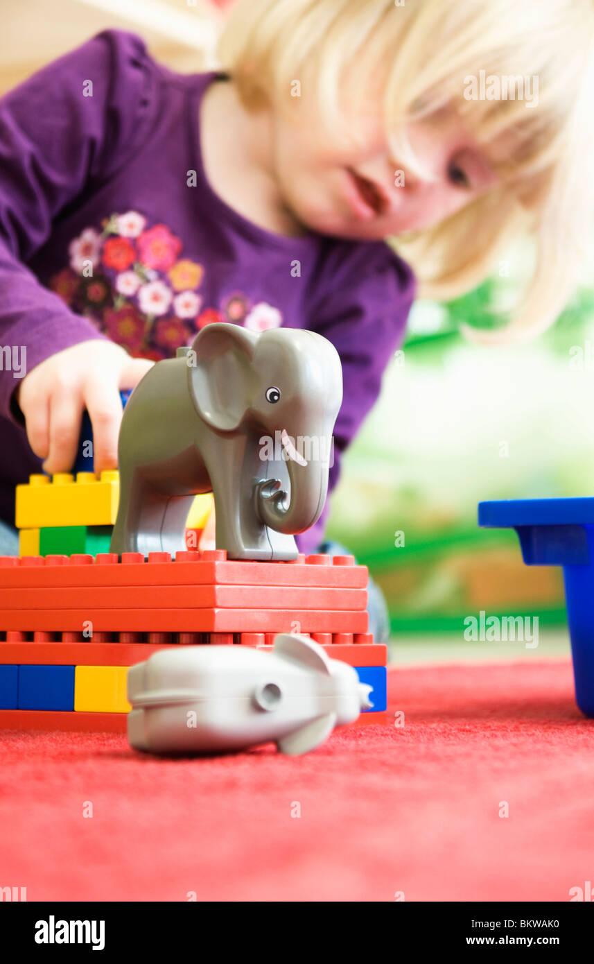 Girl on preschool - Stock Image