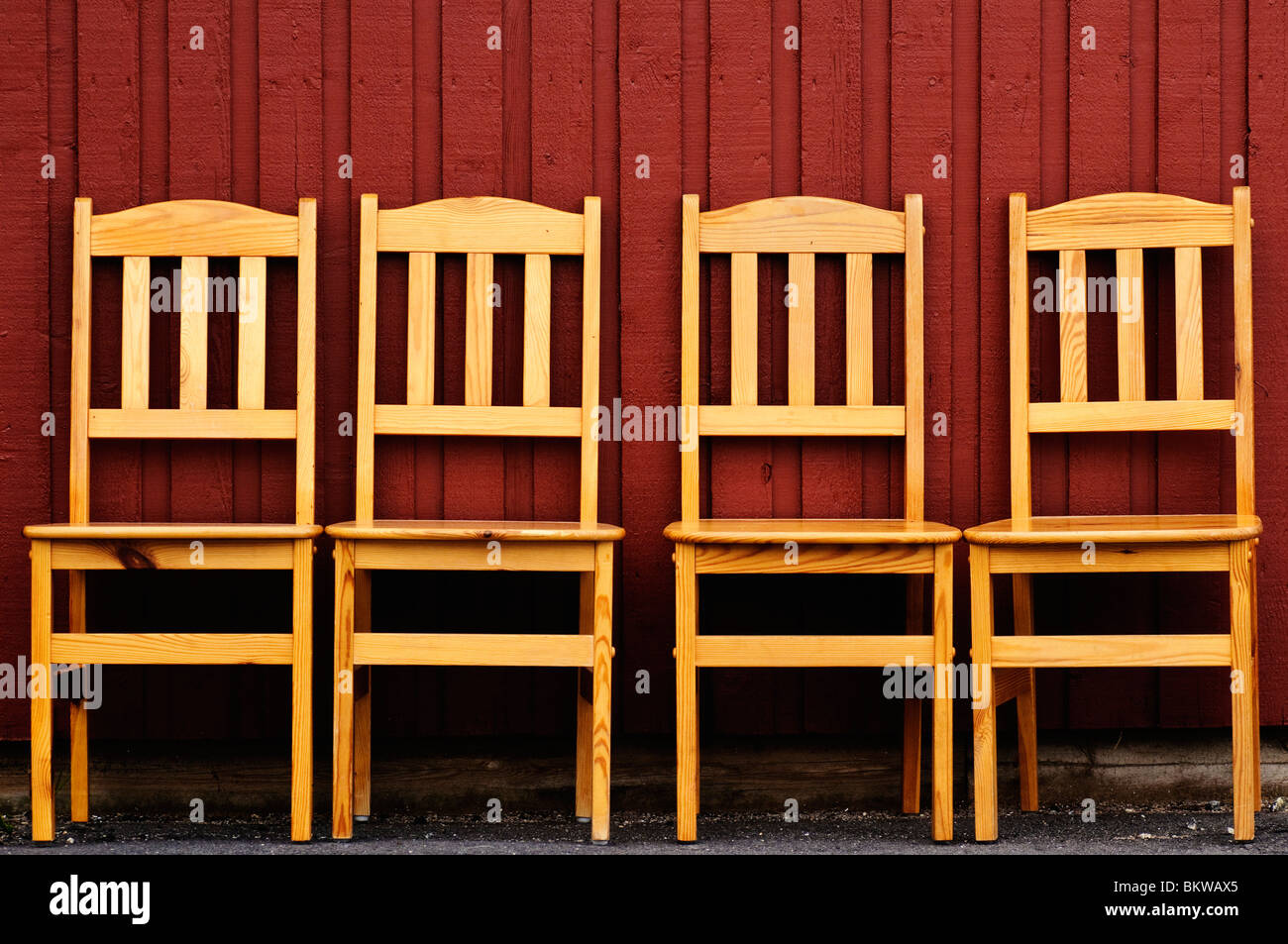 Four chairs in a row - Stock Image