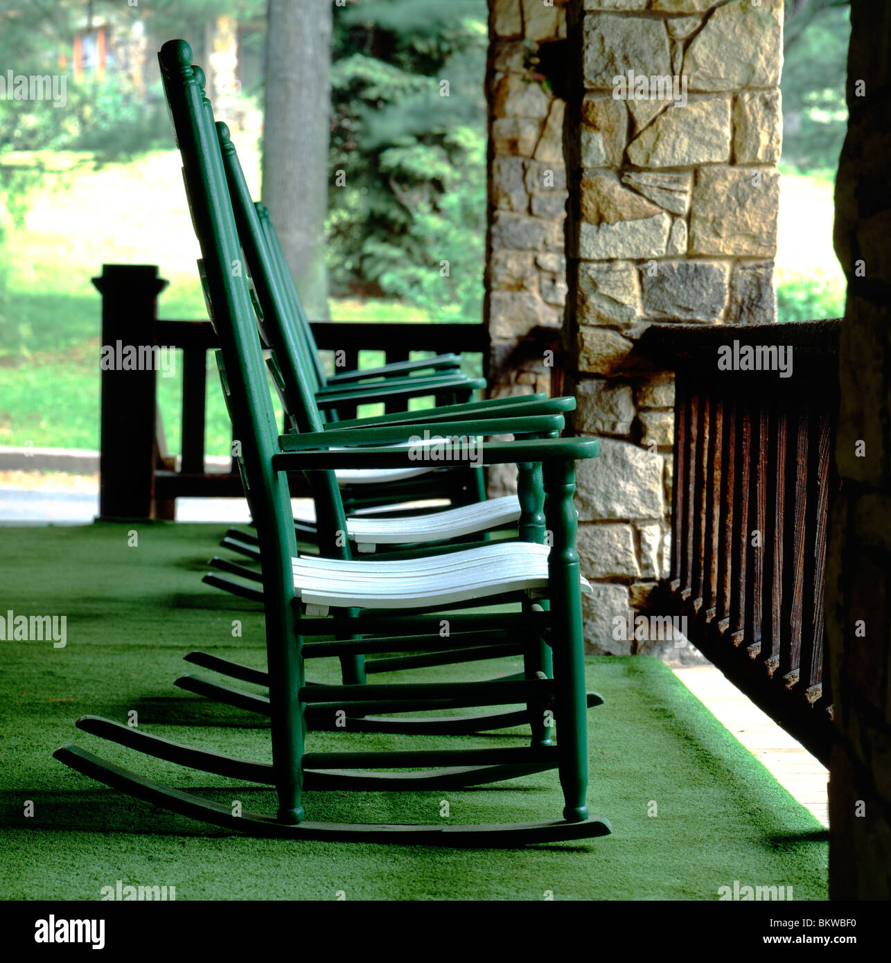 Rocking chairs on clubhouse porch Foxburg Golf Club oldest continuously run course in USA Clarion County Pennsylvania USA & Rocking chairs on clubhouse porch Foxburg Golf Club oldest Stock ...