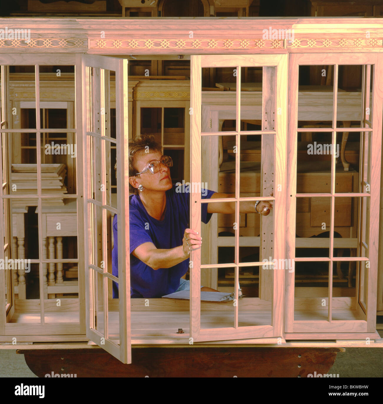 Female Quality Control Worker Check A Piece Of Cabinetry, Pennsylvania  House Furniture Company, Lewisburg