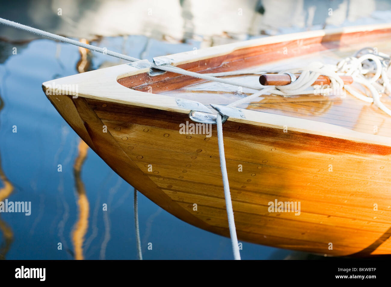 Closeup on tied up boat - Stock Image