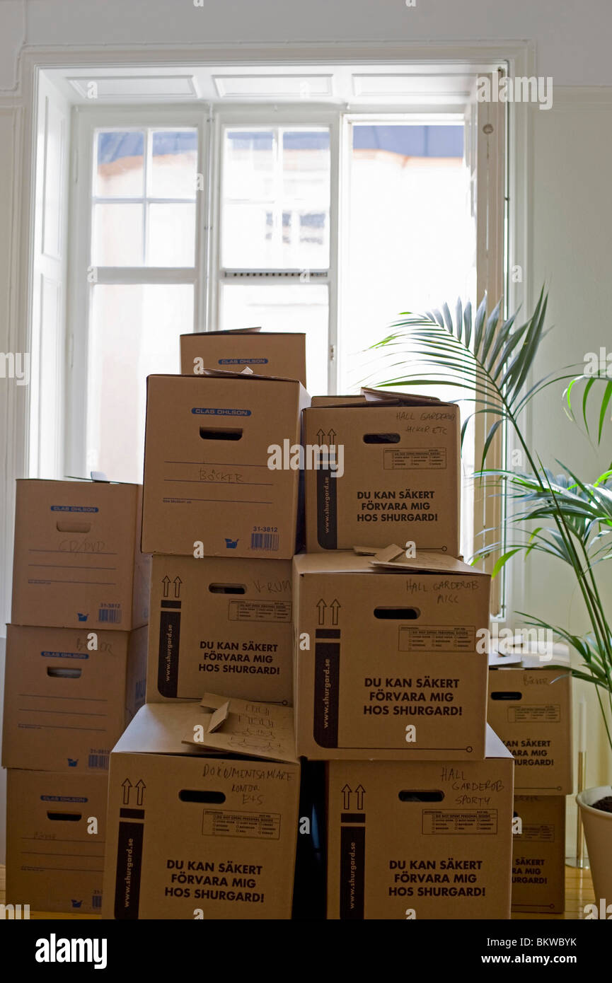 A number of moving boxes - Stock Image